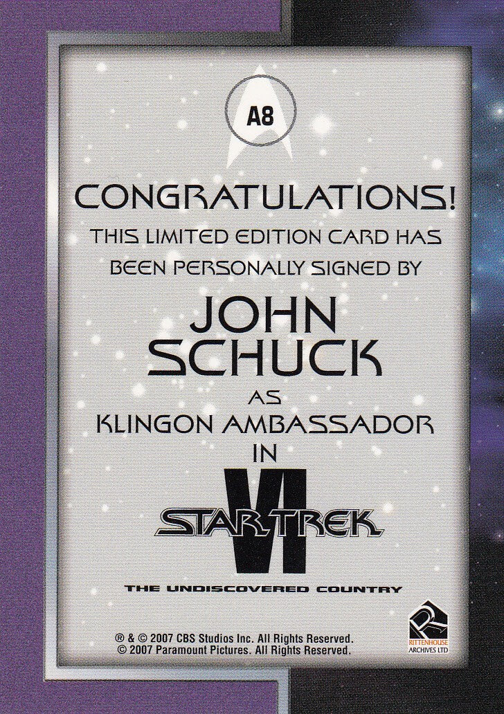 2007 Complete Star Trek Movies Autographs #A8 - John Schuck as Klingon Ambassador | Eastridge Sports Cards