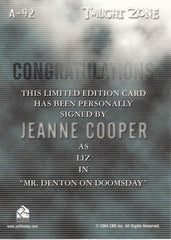 2005 Twilight Zone Science and Superstition Autographs #A92 - Jeanne Cooper | Eastridge Sports Cards