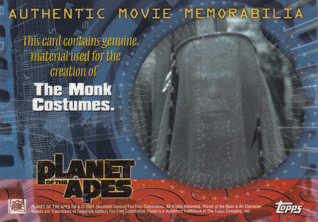 2001 Planet of the Apes Movie Authentic Movie Memorabilia - The Monk Costumes | Eastridge Sports Cards