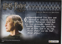 2009 Harry Potter and the Half-Blood Prince Update Autographs - Amelda Brown as Mrs. Cole SP | Eastridge Sports Cards