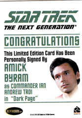2013 Star Trek The Next Generation Heroes and Villains Autographs #NNO - Amick Byram as Commander Troi | Eastridge Sports Cards