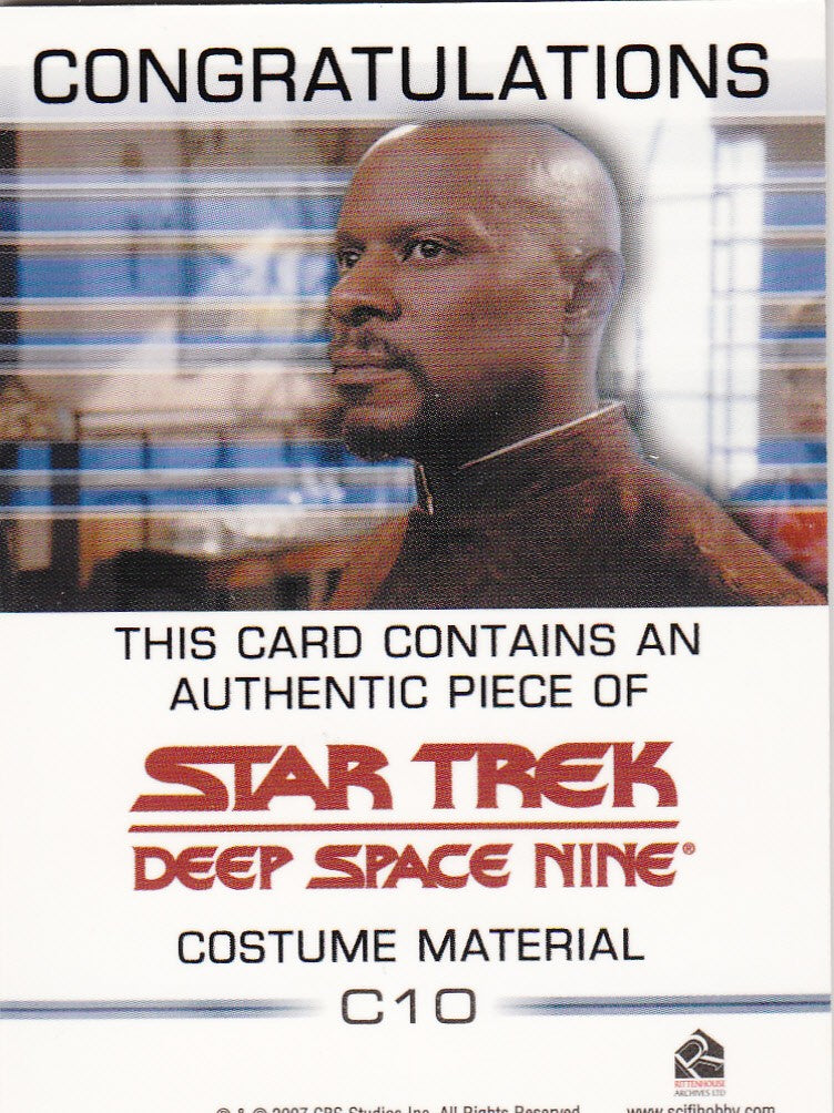 2007 Quotable Star Trek Deep Space Nine Costumes #C10 Dr. Noah | Eastridge Sports Cards