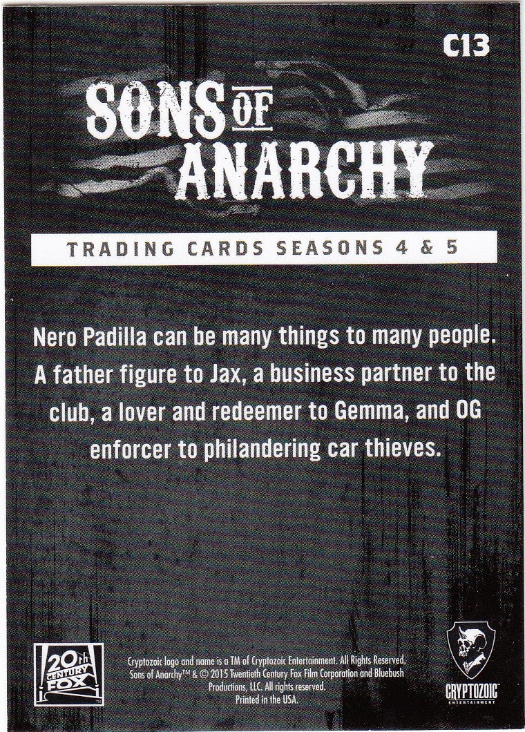 2015 Sons of Anarchy Seasons 4-5 Character Bios #C13 - Nero | Eastridge Sports Cards