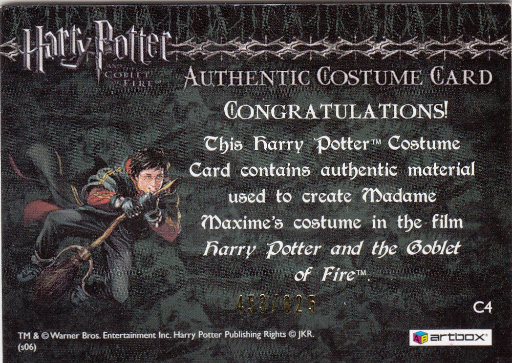 2006 Harry Potter and the Goblet of Fire Update Costumes #C4 Frances de la Tour Dress #/825 | Eastridge Sports Cards