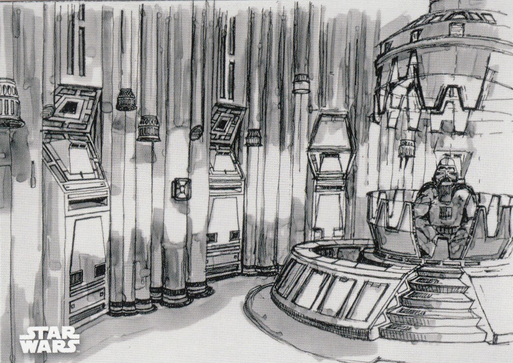 2019 Star Wars Empire Strikes Back Black and White - Concept Art #CA-6 - Darth Vader's Chamber | Eastridge Sports Cards