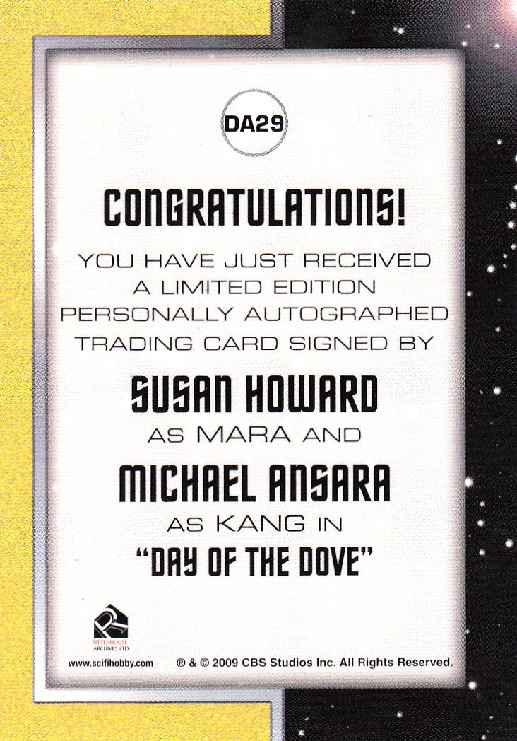 2013 Star Trek The Original Series Heroes and Villains Dual Autographs #DA29 - Susan Howard and Michael Ansara | Eastridge Sports Cards