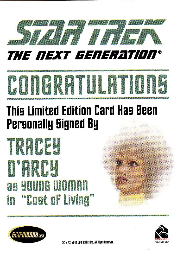 2013 Star Trek The Next Generation Heroes and Villains Autographs #NNO - Tracey D'Arcy as Young Woman | Eastridge Sports Cards