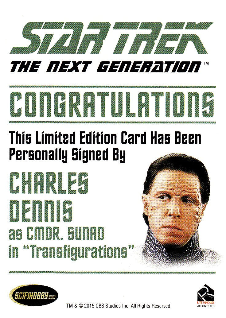 2015 Star Trek The Next Generation Portfolio Prints Autographs #NNO - Charles Dennis as Sunad | Eastridge Sports Cards