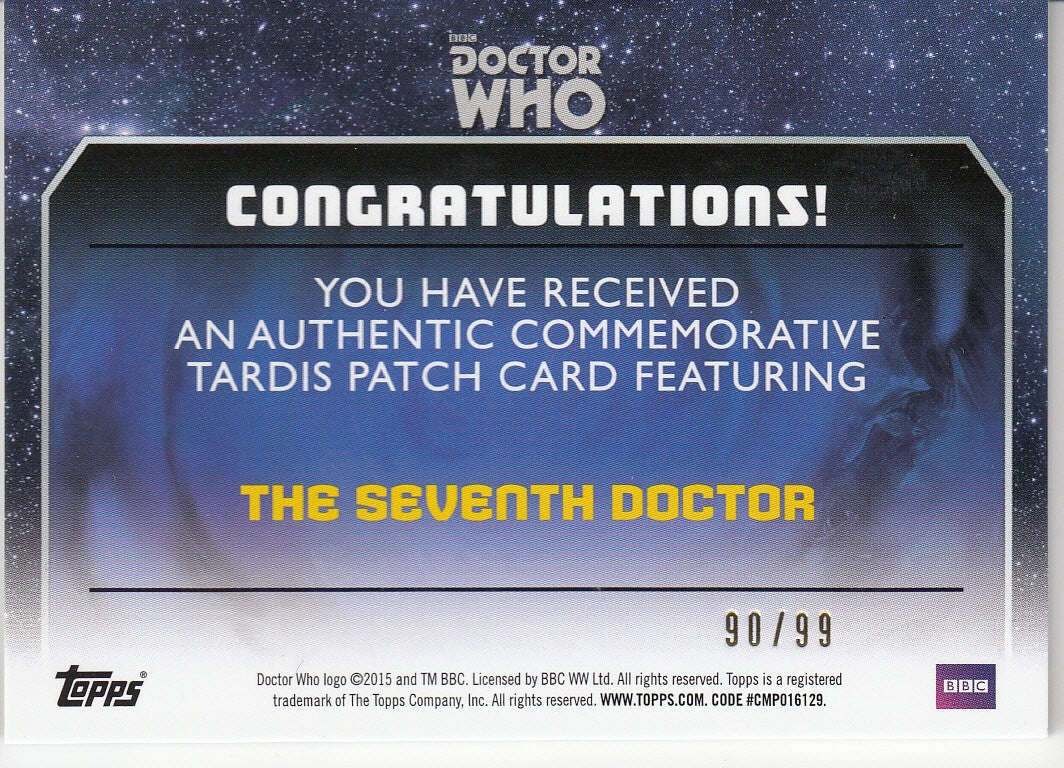 2015 Doctor Who Tardis Patches #P7 The Seventh Doctor #/99 | Eastridge Sports Cards