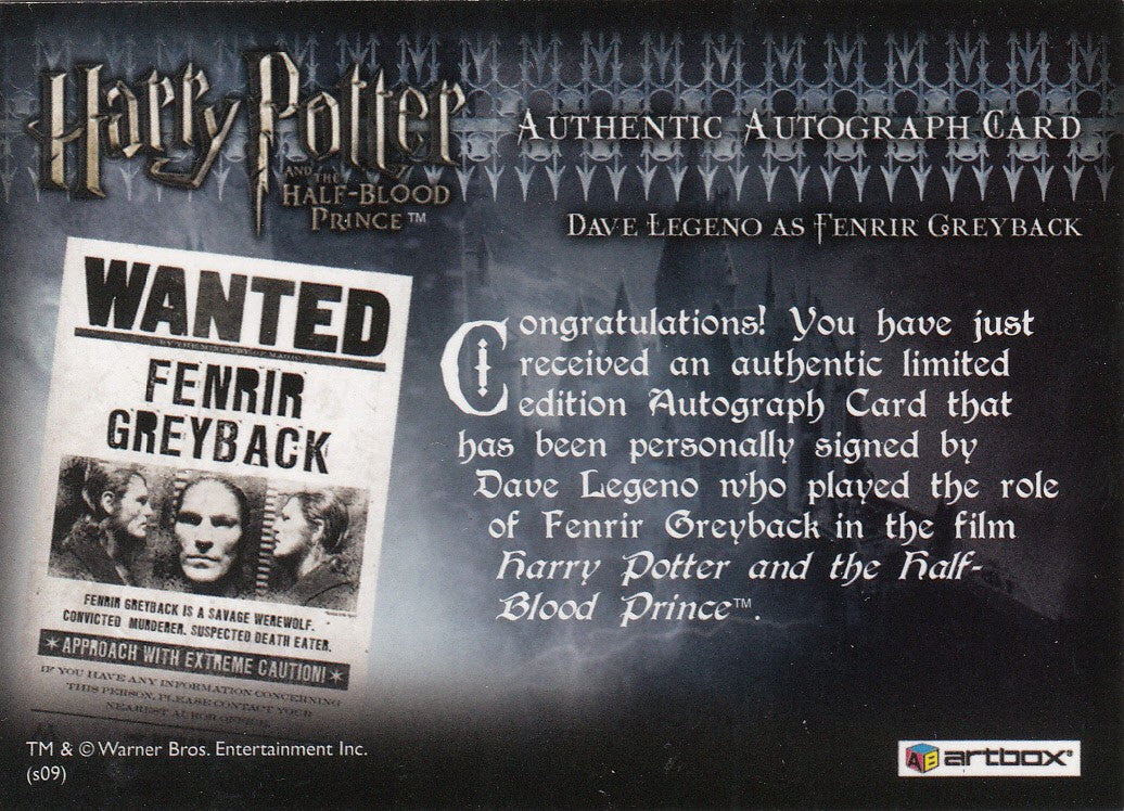 2009 Harry Potter and the Half-Blood Prince Update Autographs - Dave Legeno as Fenrir Greyback | Eastridge Sports Cards