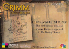 2013 Grimm Props #GPR-13 - Geier Page | Eastridge Sports Cards