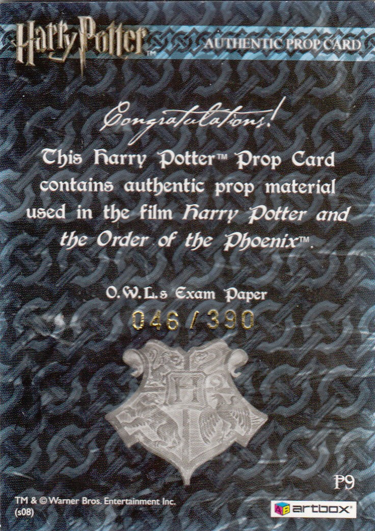 2008 World of Harry Potter 3-D Series Two Props #P9 Exam Paper #/390 | Eastridge Sports Cards