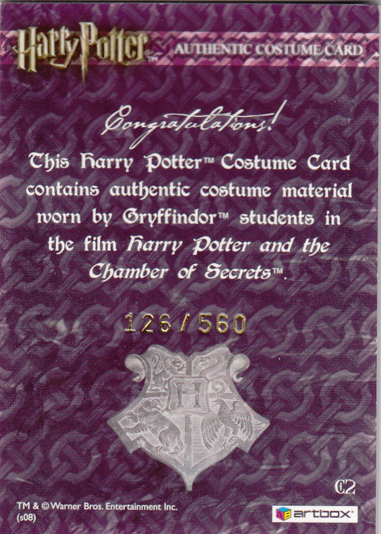 2008 World of Harry Potter 3-D Series Two Costumes #C2 Gryffindor Students' Costume #/560 | Eastridge Sports Cards