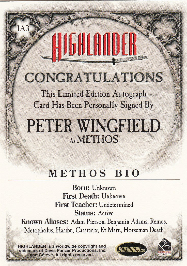 2007 Highlander Autograph Expansion #IA3 - Peter Wingfield | Eastridge Sports Cards