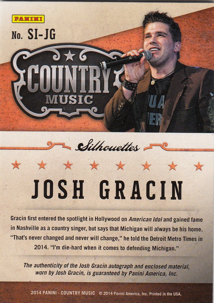 2015 Country Music Silhouette Signature Materials #SI-JG - Josh Gracin #/399 | Eastridge Sports Cards