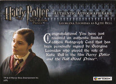 2009 Harry Potter and the Half-Blood Prince Update Autographs - Georgina Leonidas as Katie Bell SP | Eastridge Sports Cards