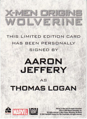 2009 X-Men Origins Wolverine Autographs - Aaron Jeffery as Thomas Logan | Eastridge Sports Cards