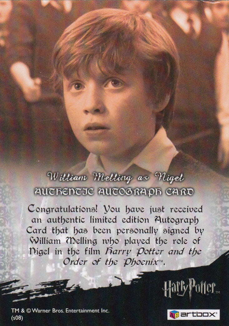 2008 World of Harry Potter 3-D Series Two Autographs - William Melling as Nigel | Eastridge Sports Cards