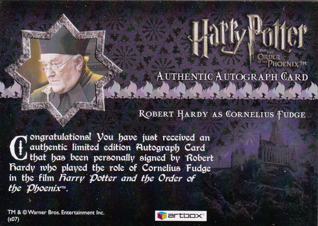 2007 Harry Potter and the Order of the Phoenix Update Autographs - Robert Hardy as Cornelius Fudge | Eastridge Sports Cards
