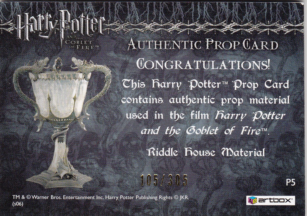 2006 Harry Potter and the Goblet of Fire Update Props #P5 Riddle House #/305 | Eastridge Sports Cards