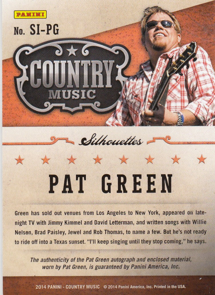 2015 Country Music Silhouette Signature Materials #SI-PG Pat Green #/199 | Eastridge Sports Cards