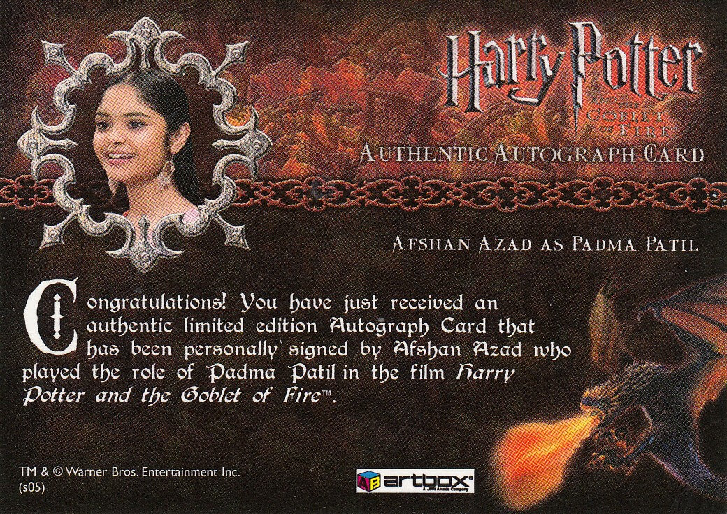 2006 Harry Potter and the Goblet of Fire Update Autographs - Afshan Azad as Padma Patil | Eastridge Sports Cards