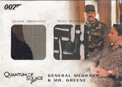 2009 James Bond Archives Relics #QC08 General Medrano & Mr. Greene Jacket - Shirt #/825 | Eastridge Sports Cards