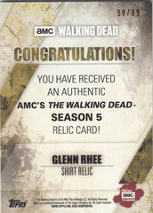 2016 The Walking Dead Season 5 Relics Rust #NNO Glenn Rhee - Shirt #/99 | Eastridge Sports Cards
