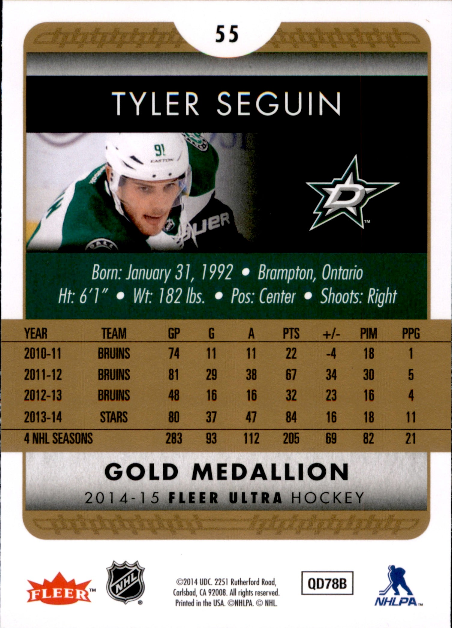 2014-15 Fleer Ultra Gold Medallion #055 Tyler Seguin | Eastridge Sports Cards