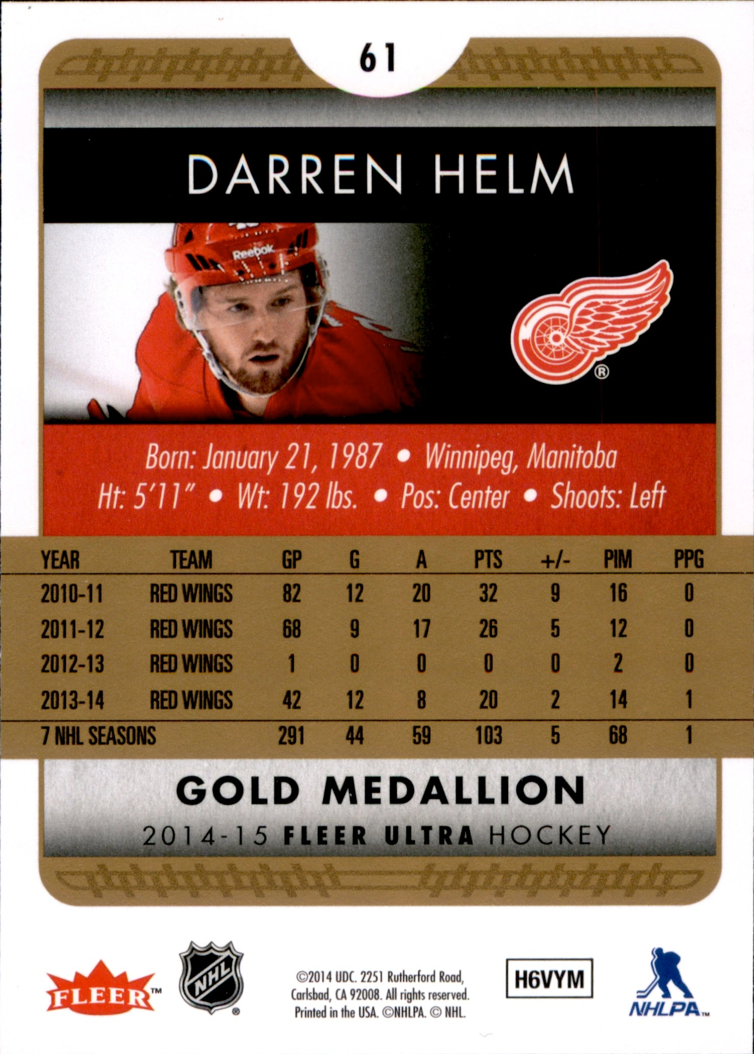2014-15 Fleer Ultra Gold Medallion #061 Darren Helm | Eastridge Sports Cards