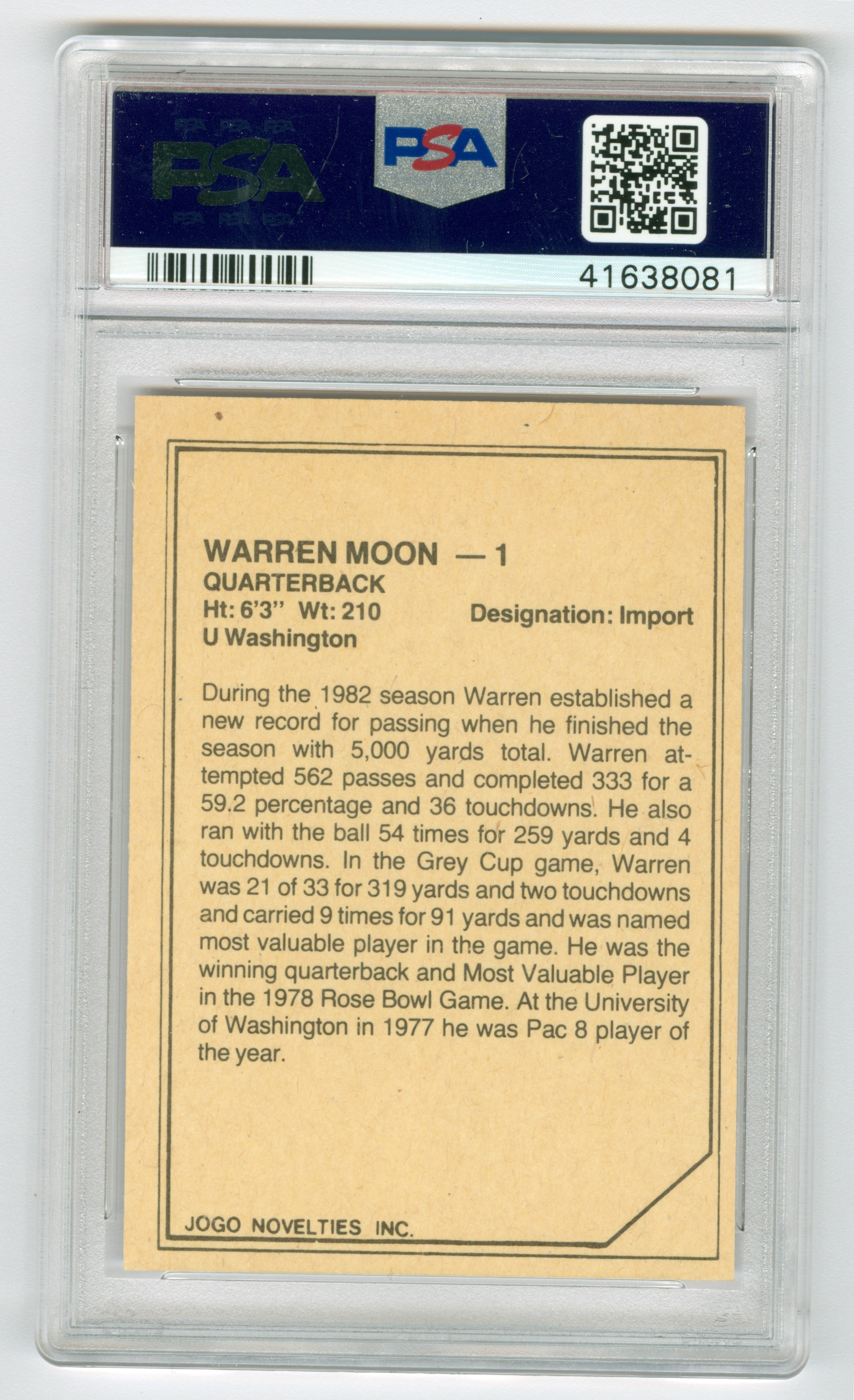 1983 JOGO CFL Limited Warren Moon PSA 8 | Eastridge Sports Cards