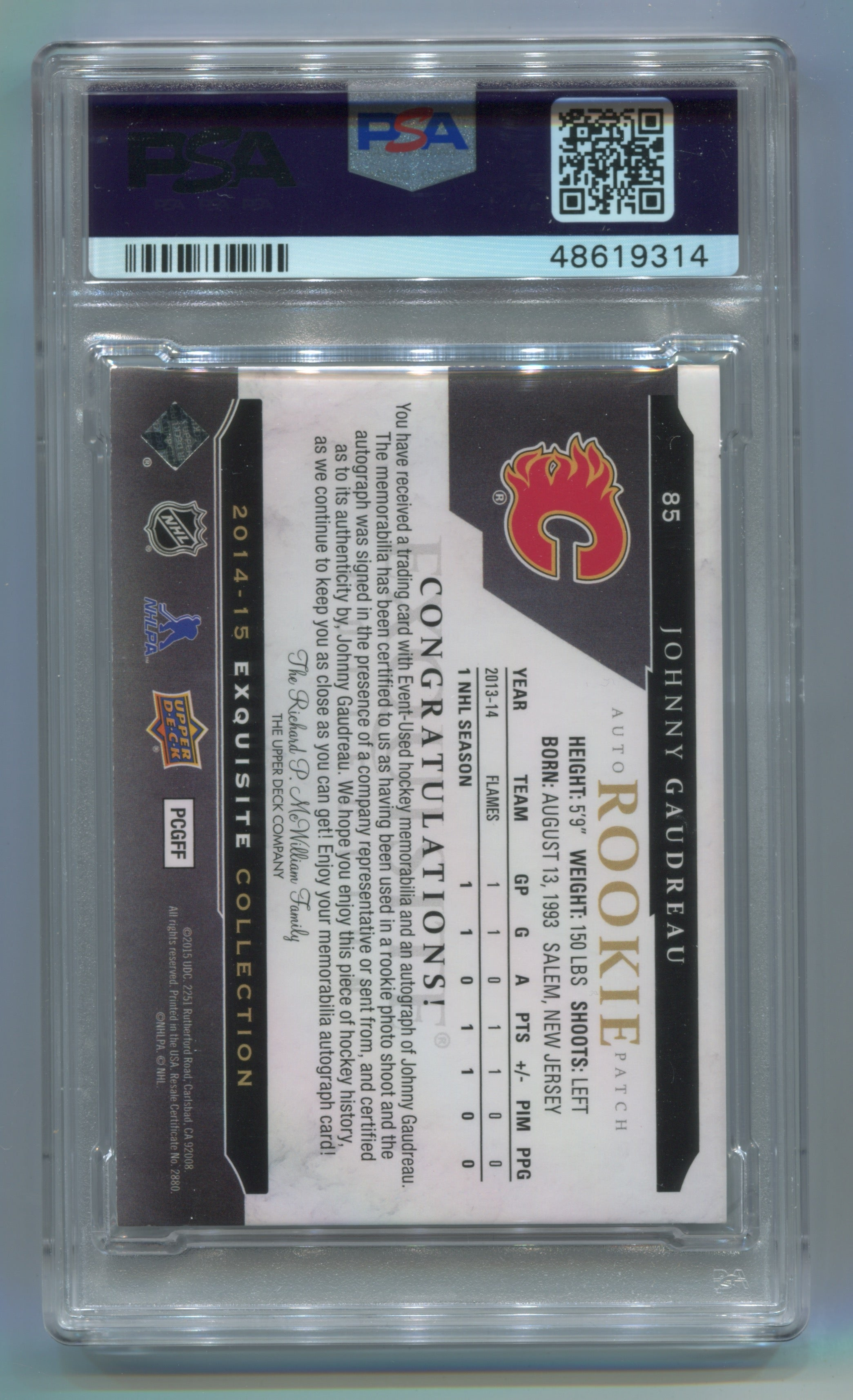 2014-15 The Cup Exquisite Collection Inserts #85 Johnny Gaudreau #14/53 PSA 7 | Eastridge Sports Cards