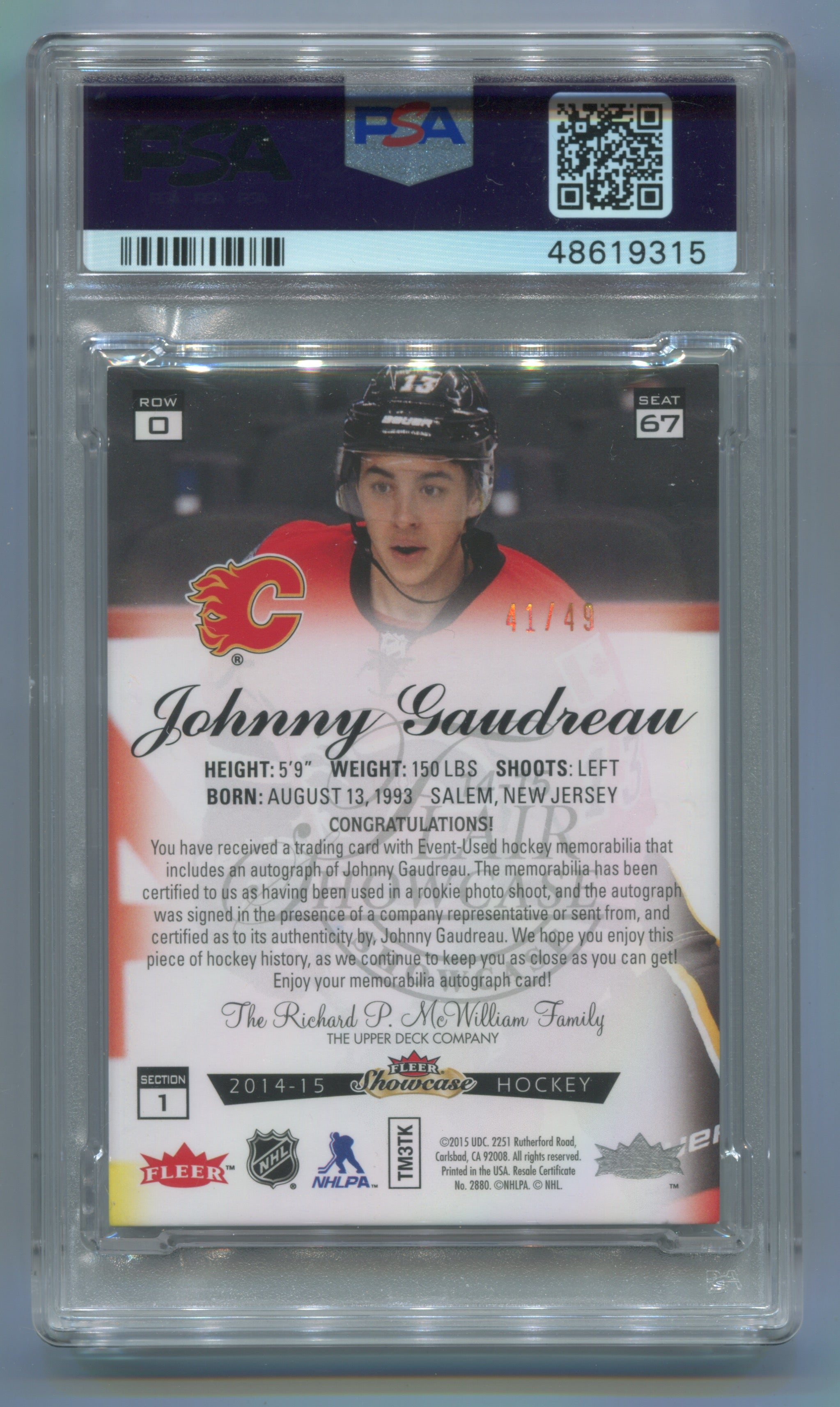 2014-15 Fleer Showcase Flair Memorabilia Prime #67 Johnny Gaudreau #41/49 PSA 5 | Eastridge Sports Cards