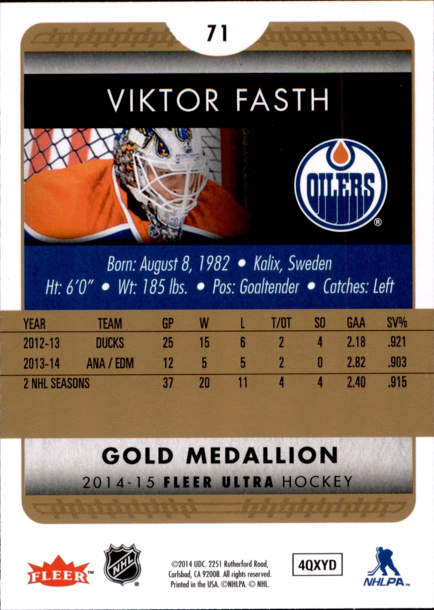 2014-15 Fleer Ultra Gold Medallion #071 Viktor Fasth | Eastridge Sports Cards