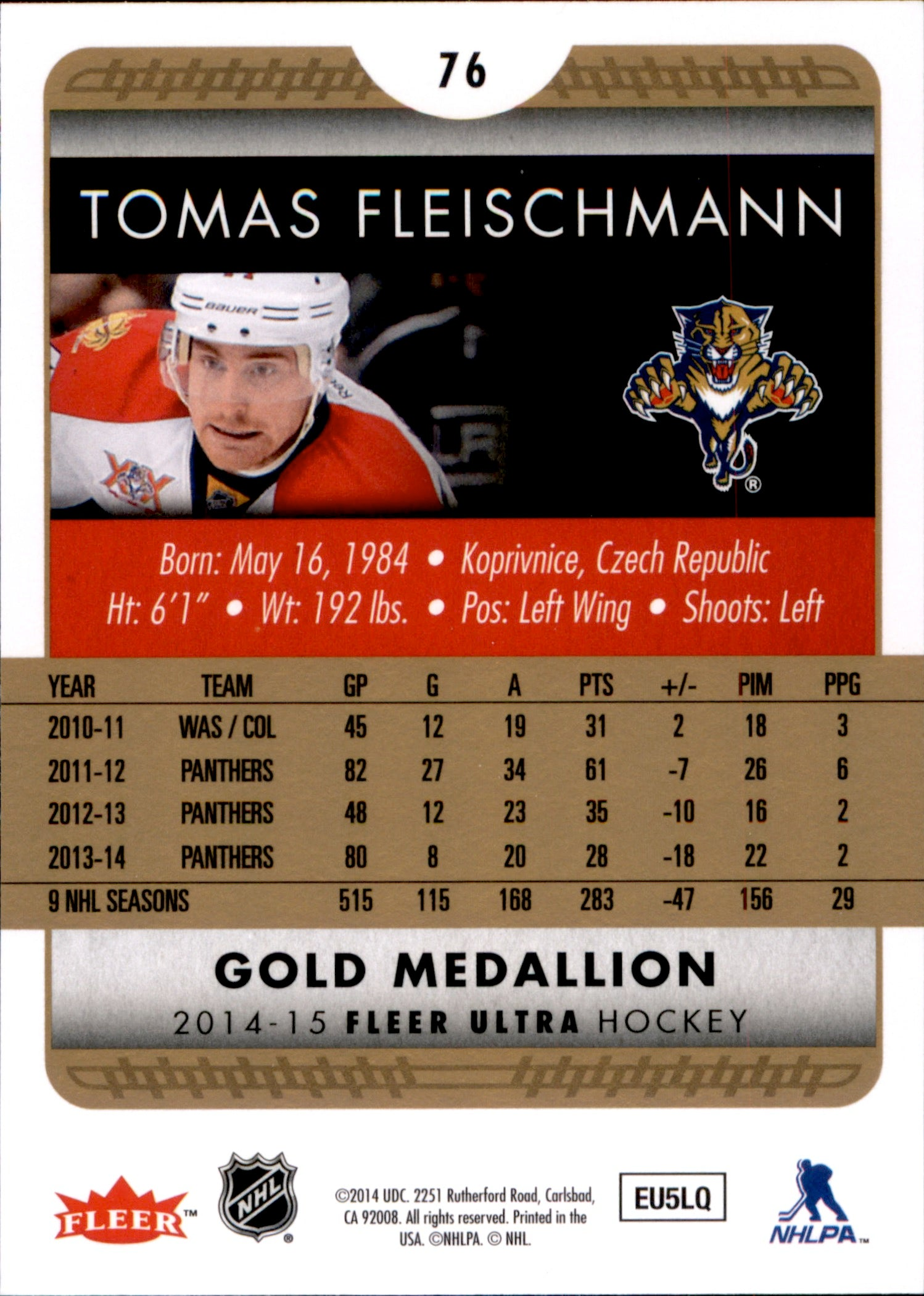 2014-15 Fleer Ultra Gold Medallion #076 Tomas Fleischmann | Eastridge Sports Cards