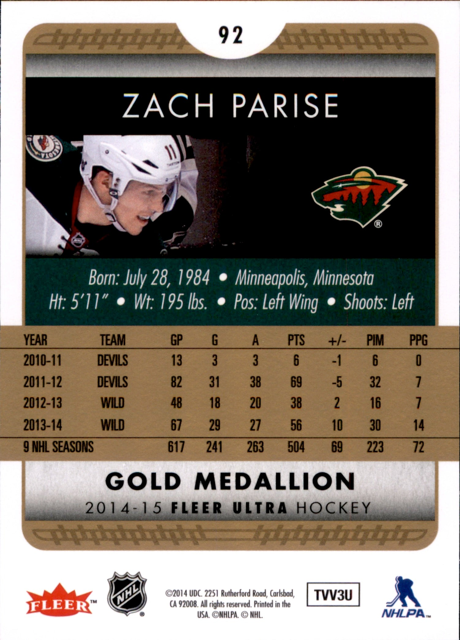 2014-15 Fleer Ultra Gold Medallion #092 Zach Parise | Eastridge Sports Cards