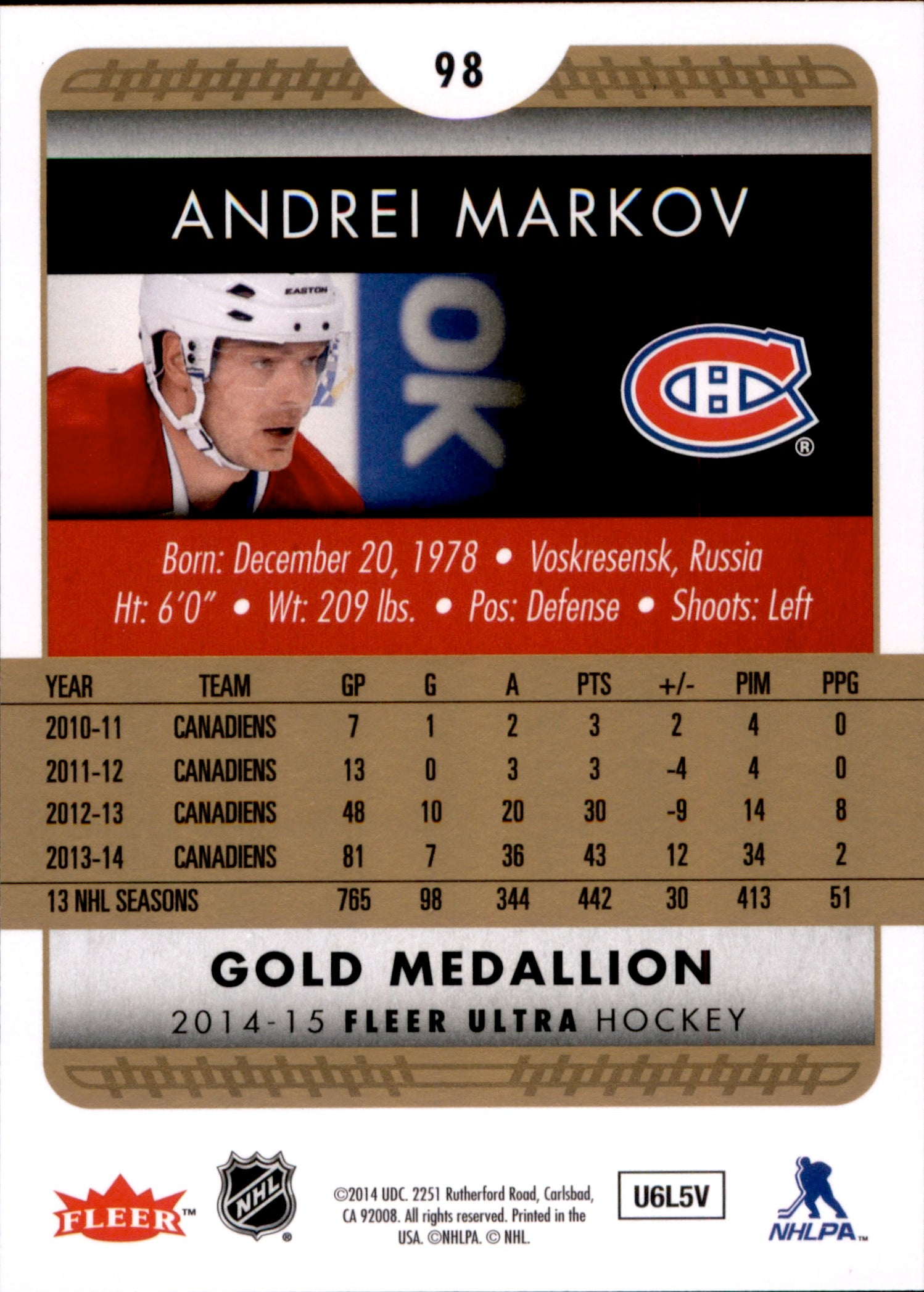 2014-15 Fleer Ultra Gold Medallion #098 Andrei Markov | Eastridge Sports Cards
