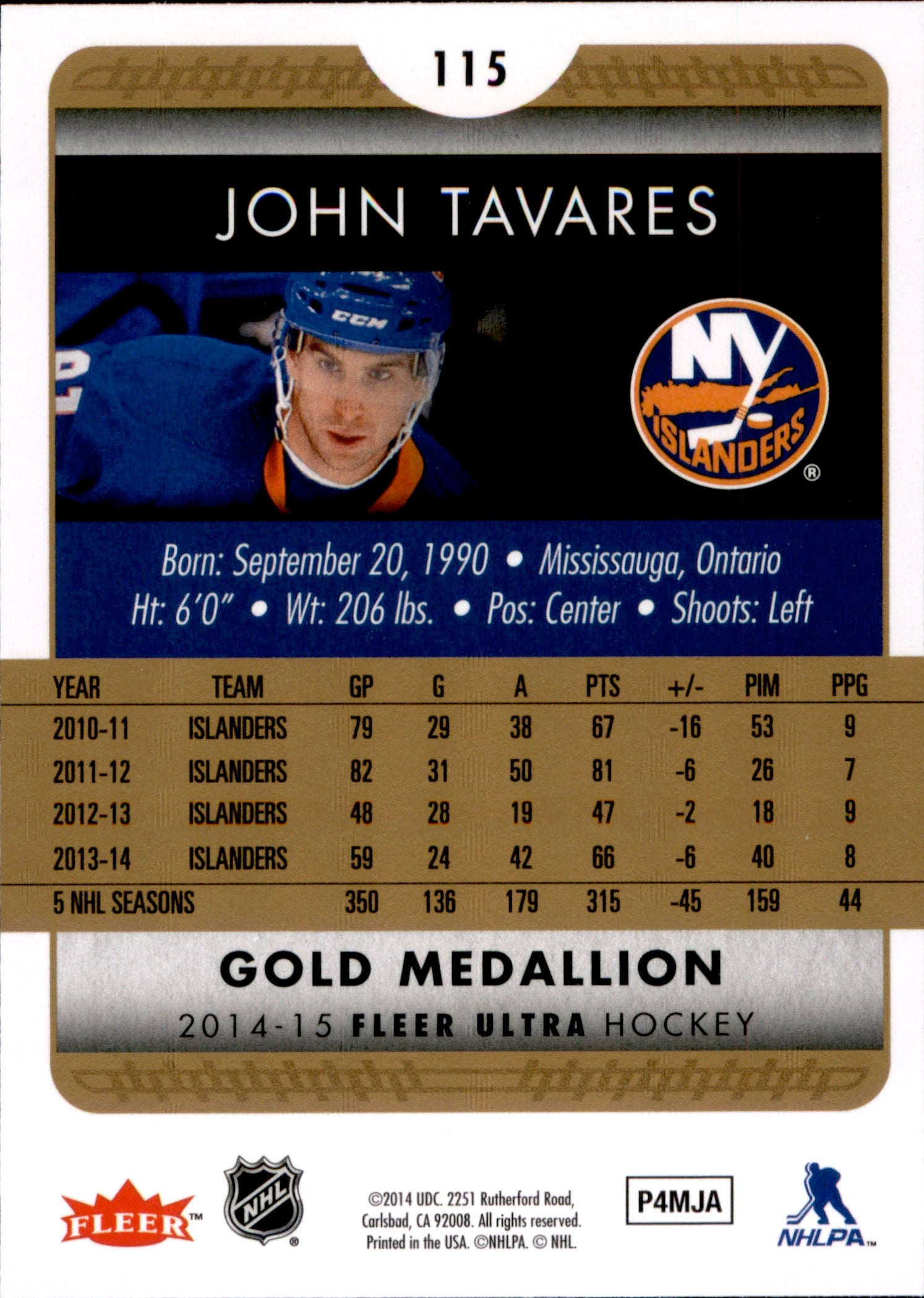 2014-15 Fleer Ultra Gold Medallion #115 John Tavares | Eastridge Sports Cards