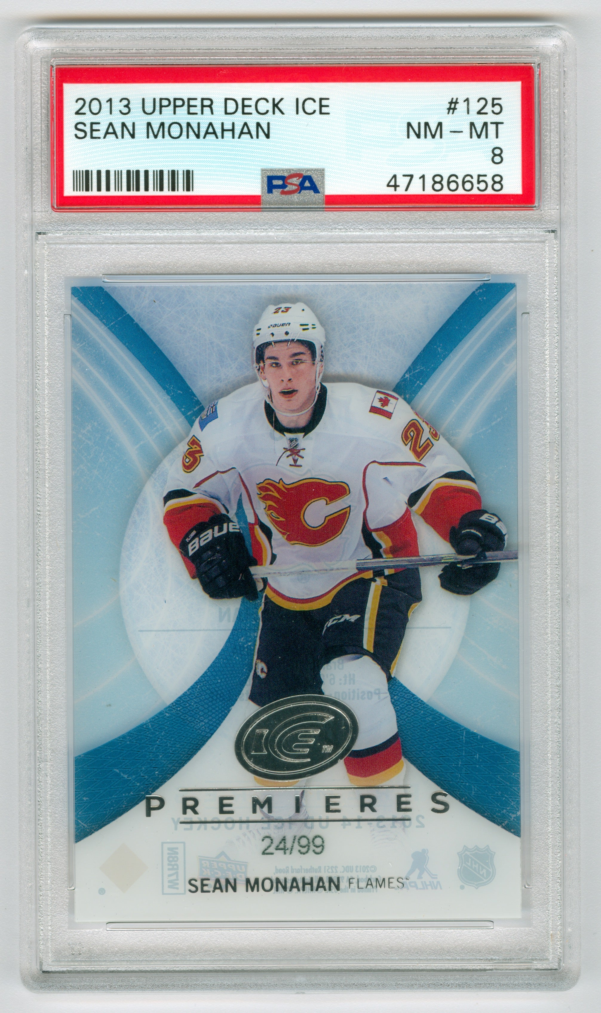 2013-14 Upper Deck Ice #125 Sean Monahan #24/99 PSA 8 | Eastridge Sports Cards