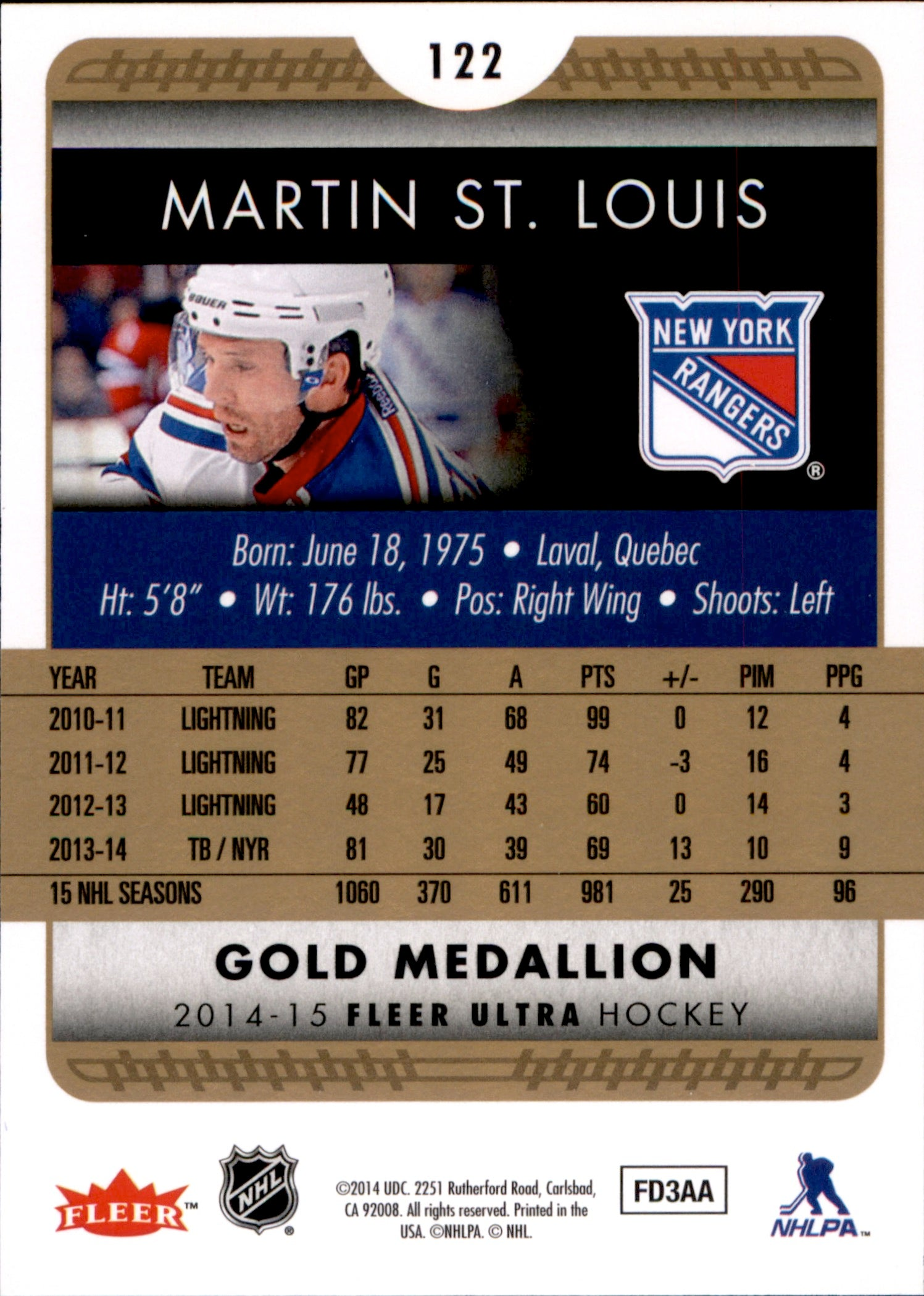 2014-15 Fleer Ultra Gold Medallion #122 Martin St. Louis | Eastridge Sports Cards