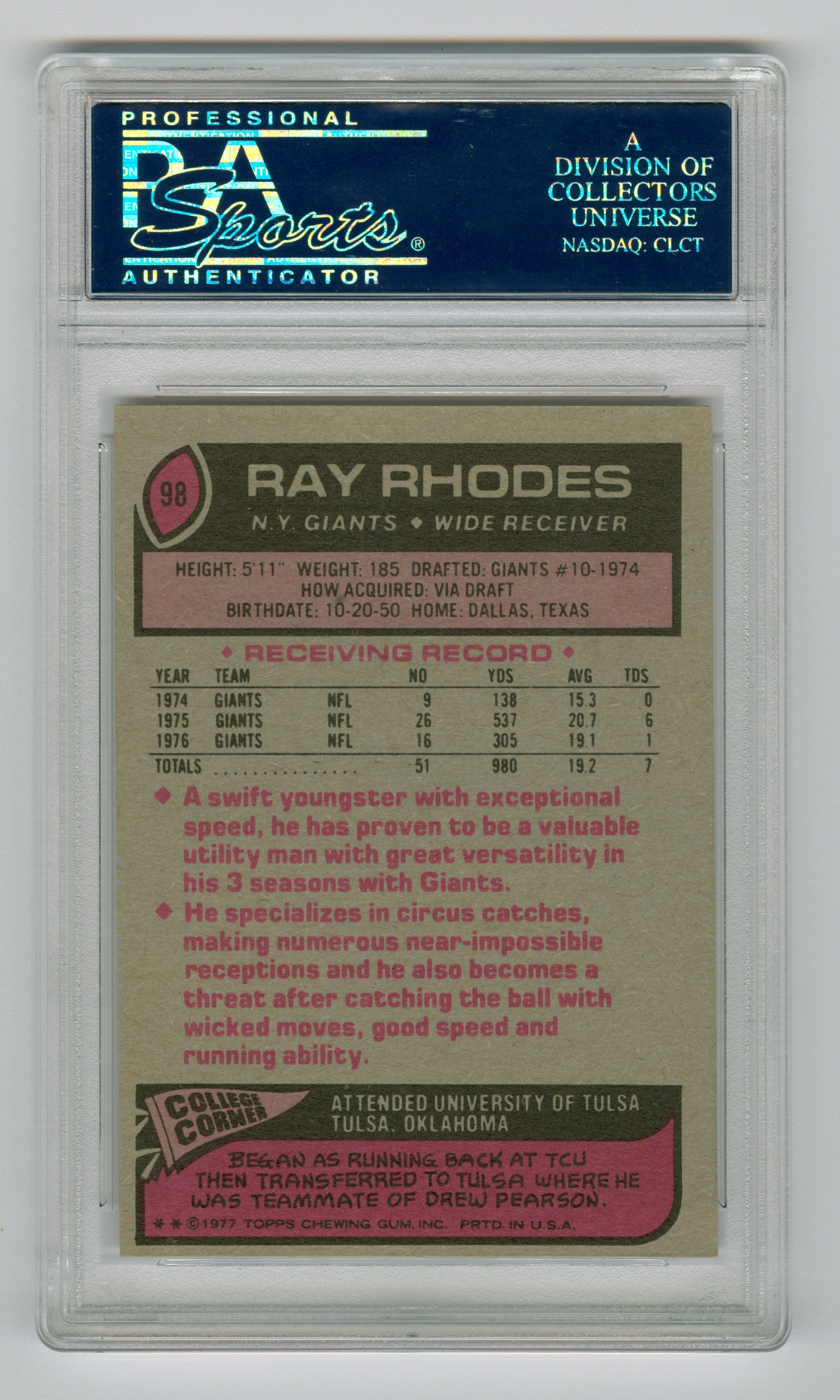 1977 Topps #98 Ray Rhodes PSA 6 (Rookie) | Eastridge Sports Cards