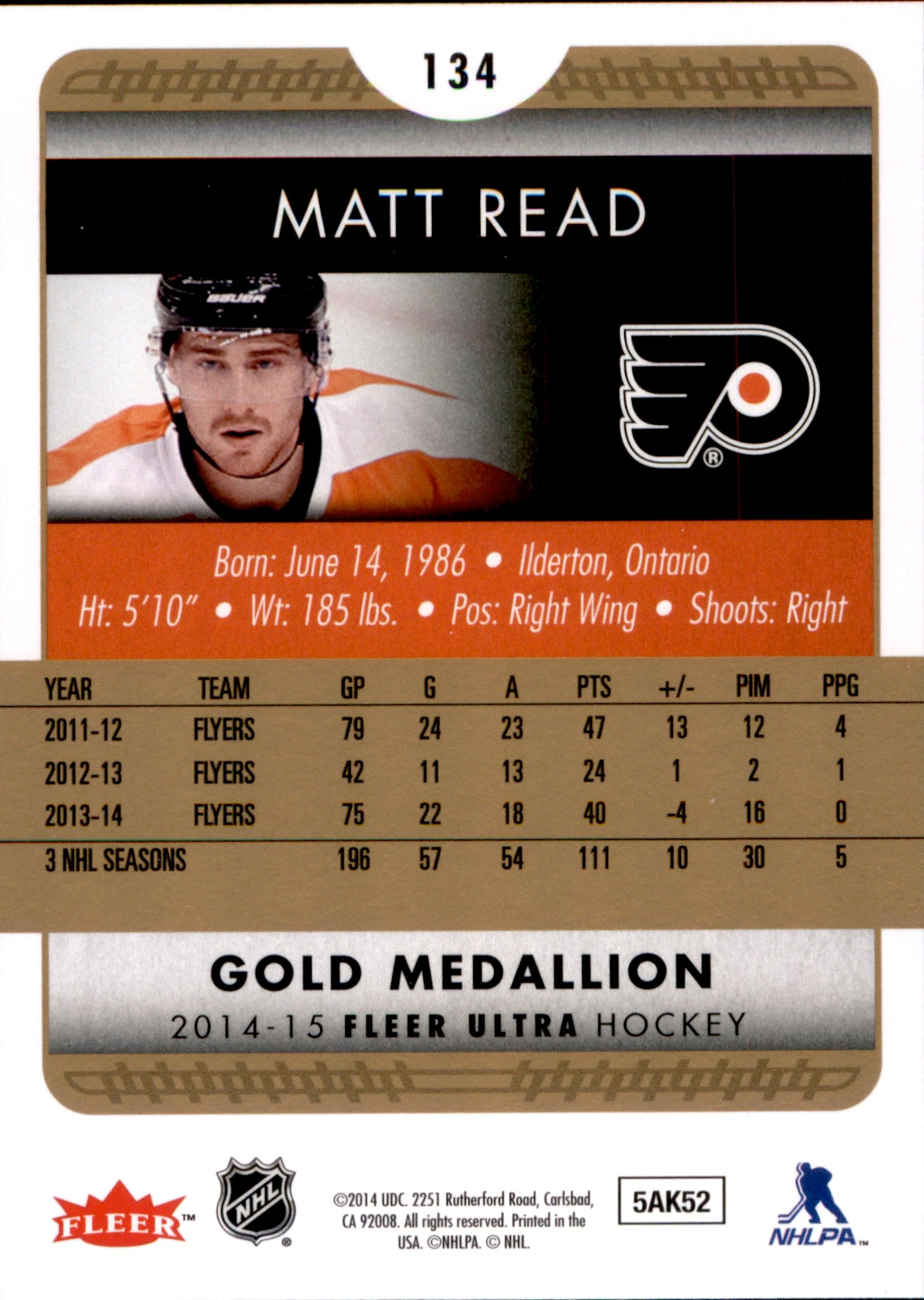 2014-15 Fleer Ultra Gold Medallion #134 Matt Read | Eastridge Sports Cards