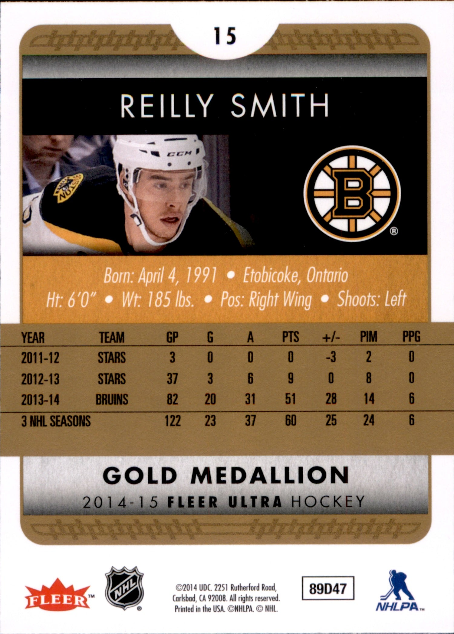 2014-15 Fleer Ultra Gold Medallion #015 Reilly Smith | Eastridge Sports Cards