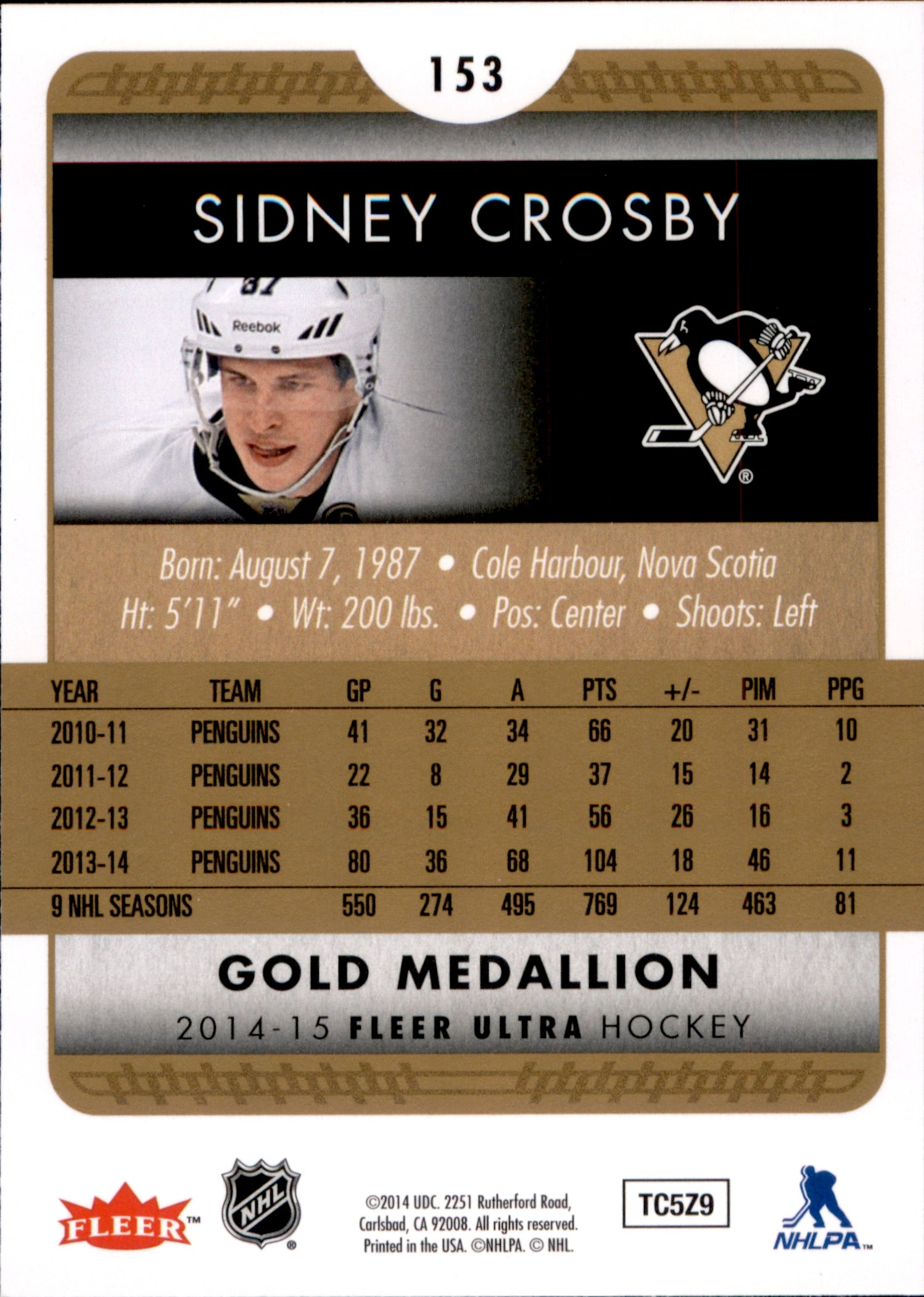 2014-15 Fleer Ultra Gold Medallion #153 Sidney Crosby | Eastridge Sports Cards