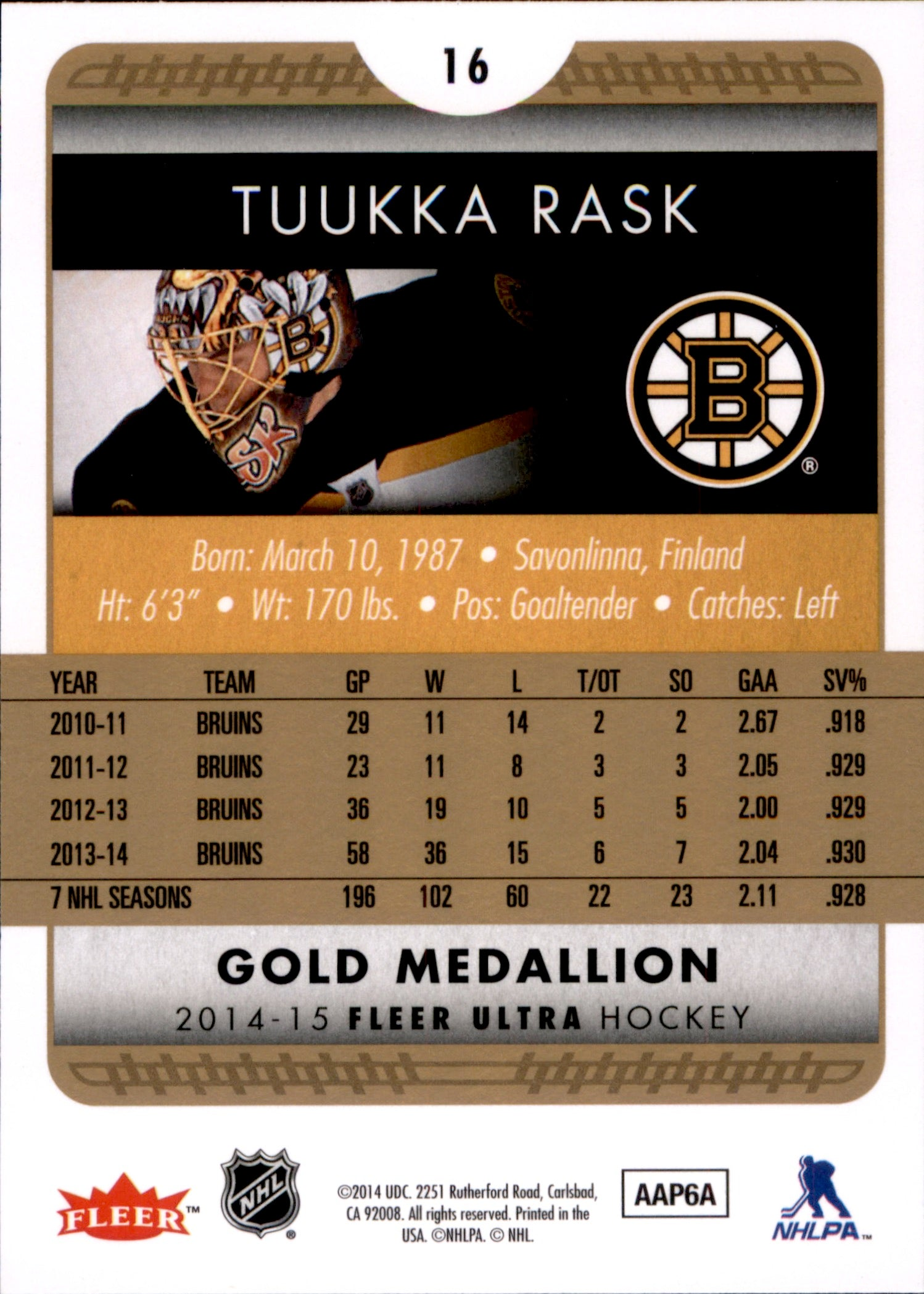 2014-15 Fleer Ultra Gold Medallion #016 Tuukka Rask | Eastridge Sports Cards