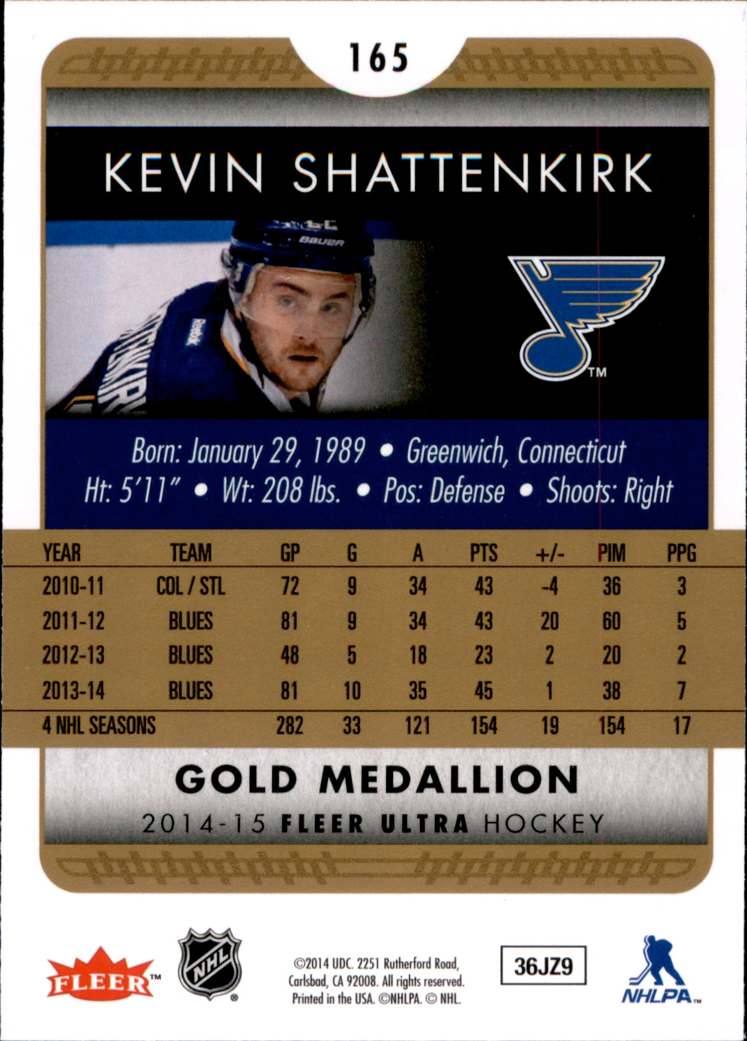 2014-15 Fleer Ultra Gold Medallion #165 Kevin Shattenkirk | Eastridge Sports Cards