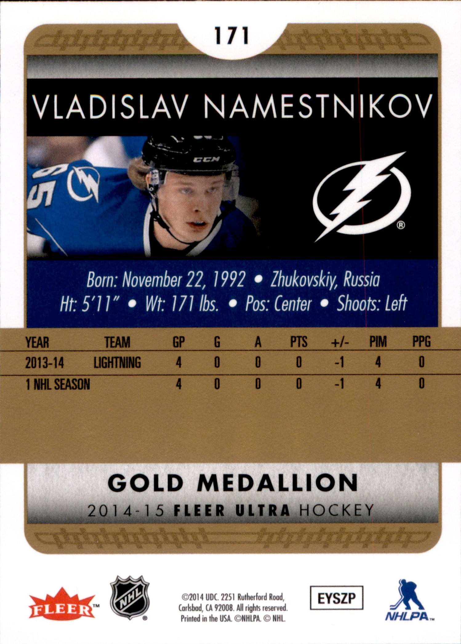 2014-15 Fleer Ultra Gold Medallion #171 Vladislav Namestnikov | Eastridge Sports Cards