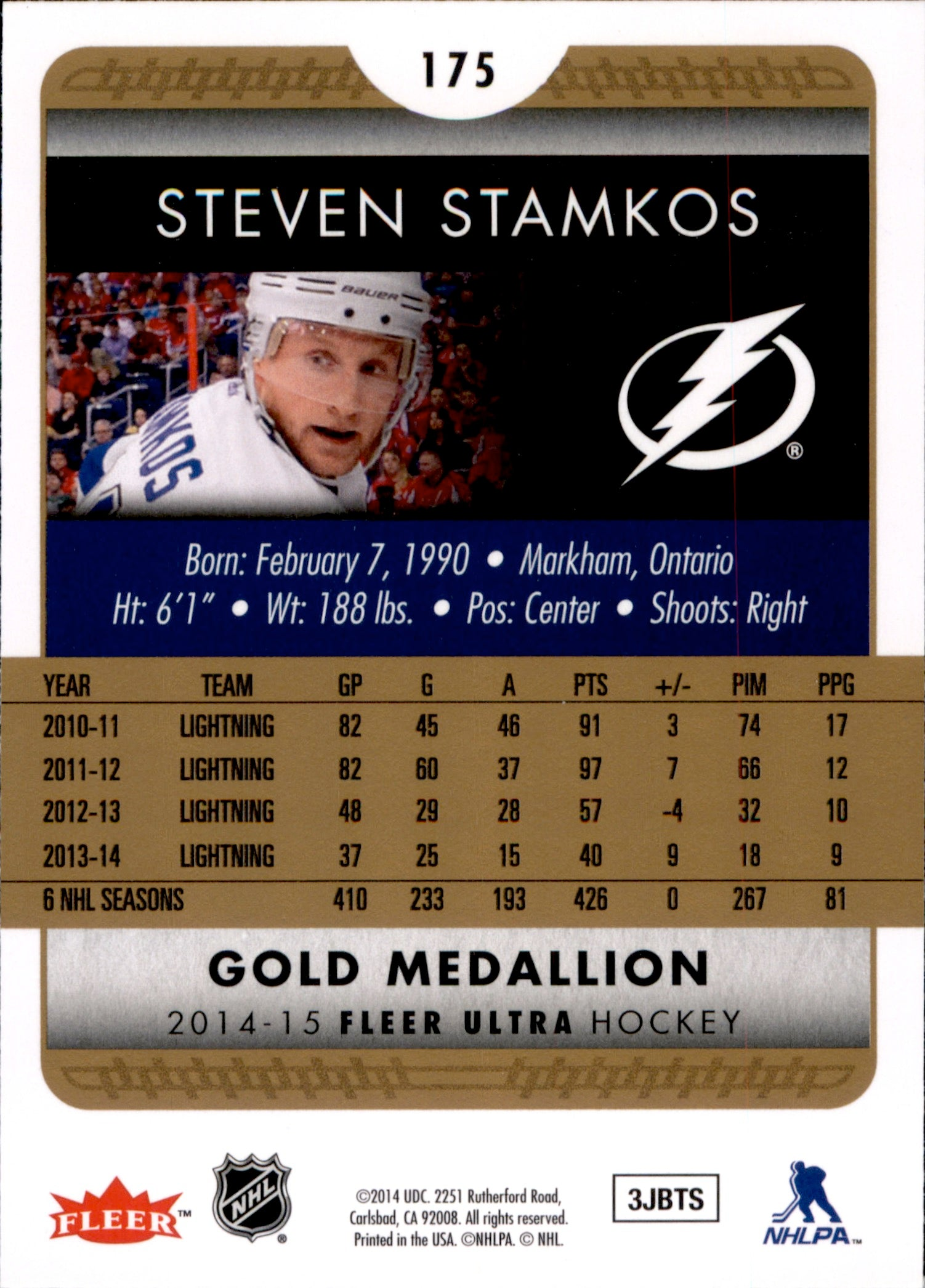 2014-15 Fleer Ultra Gold Medallion #175 Steven Stamkos | Eastridge Sports Cards