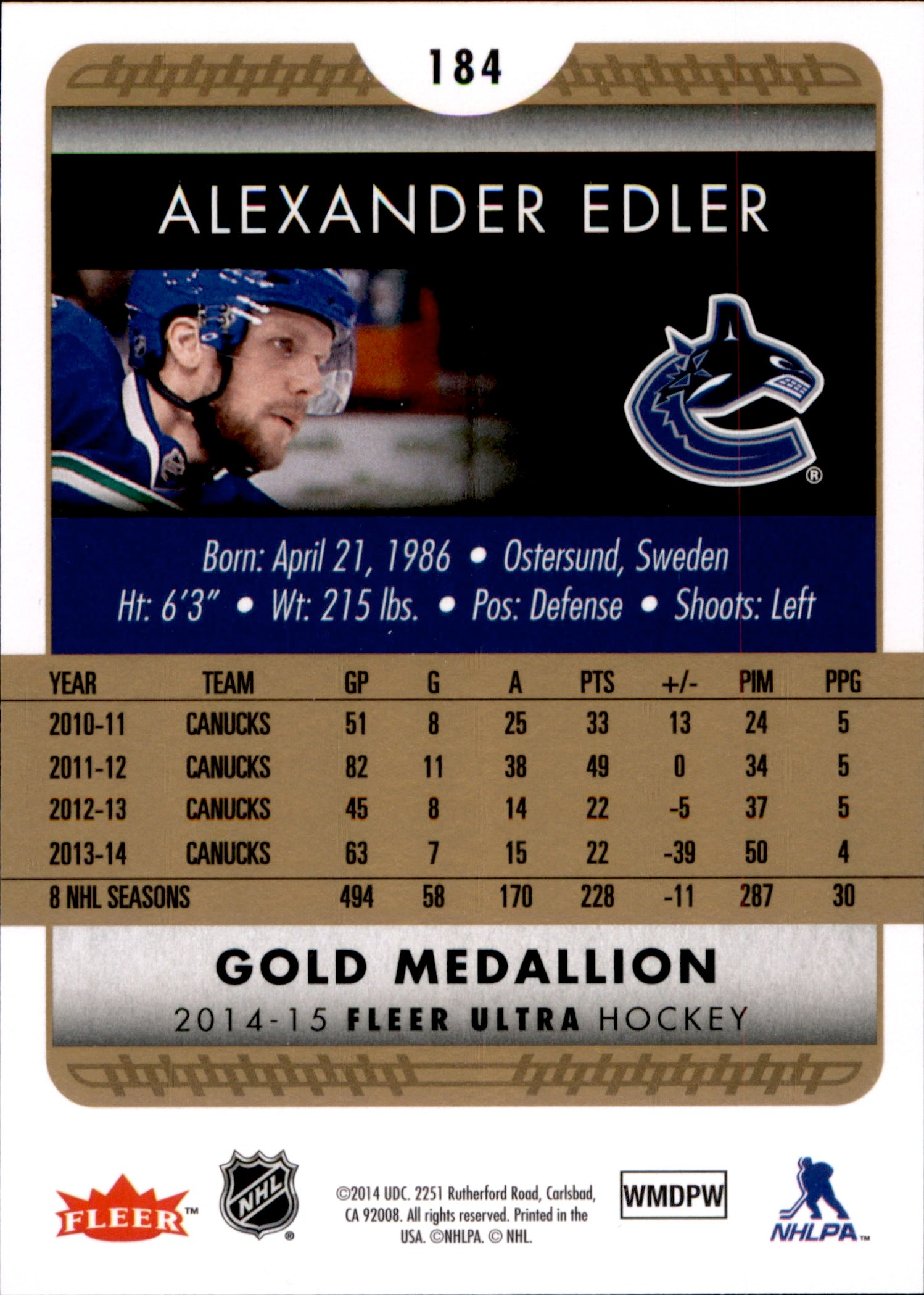2014-15 Fleer Ultra Gold Medallion #184 Alexander Edler | Eastridge Sports Cards