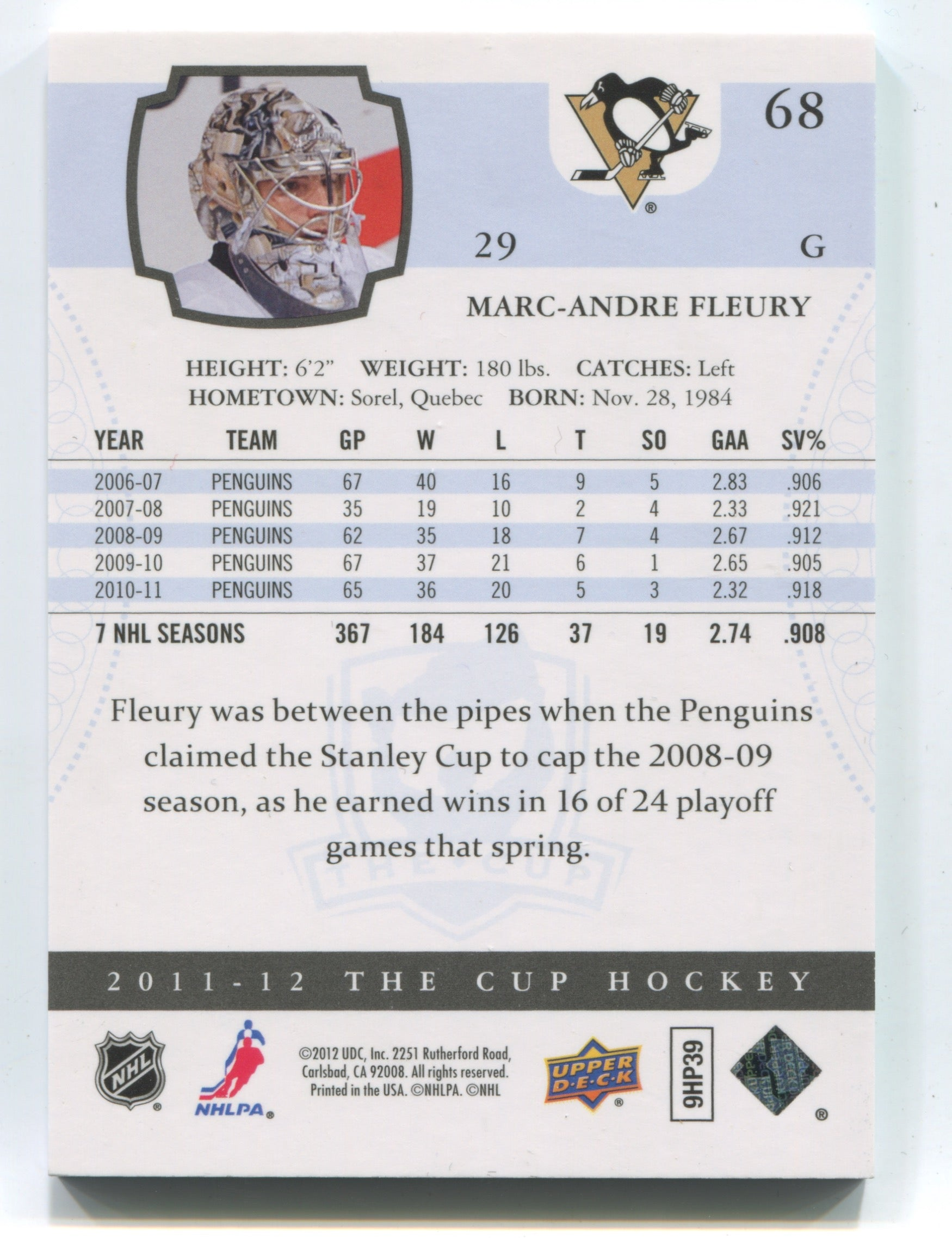 2011-12 The Cup #68 Marc-Andre Fleury #078/249 | Eastridge Sports Cards